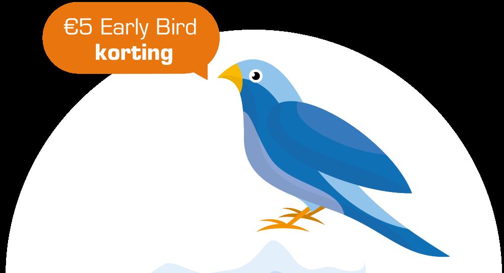 Afbeelding van een blauwe Early Bird vogel. Schrijf je nu in voor de Run for KiKa Winterrun en krijg 5 euro Early Bird korting!