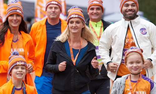Runners of all ages run the 10K, 5K or 1K KidsRun for charity during the Run for KiKa in Utrecht