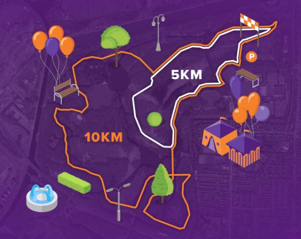 Afbeelding van de 10 kilometer, 5 kilometer en 1 kilometer KidsRun route van Run for KiKa Amsterdam op 6 oktober 2019 vanuit het Amsterdamse Bos in Amsterdam
