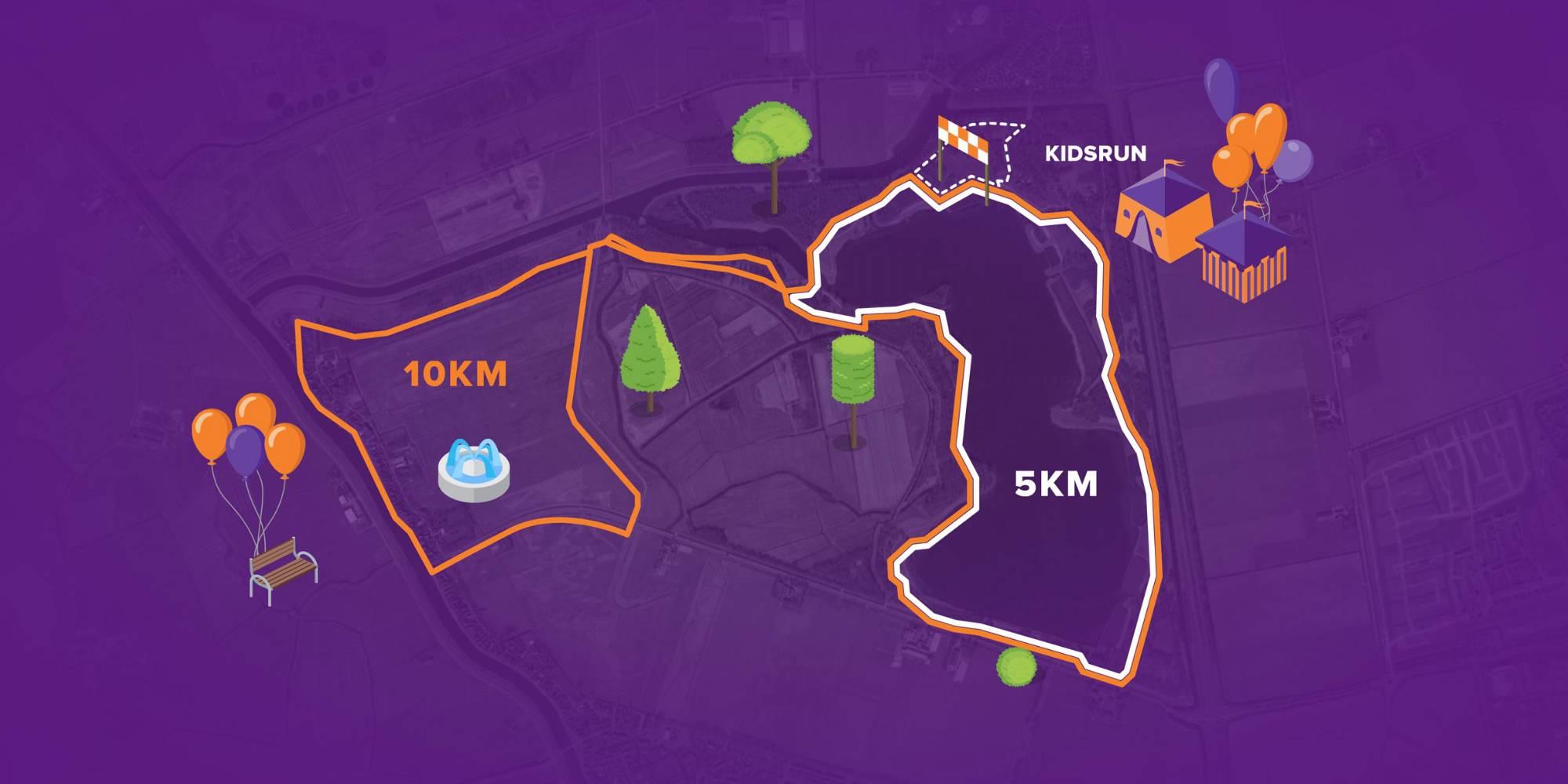 Afbeelding van de 10 kilometer, 5 kilometer en 1 kilometer KidsRun route van Run for KiKa Alkmaar op 7 juni 2020  op Geestmerambacht Alkmaar