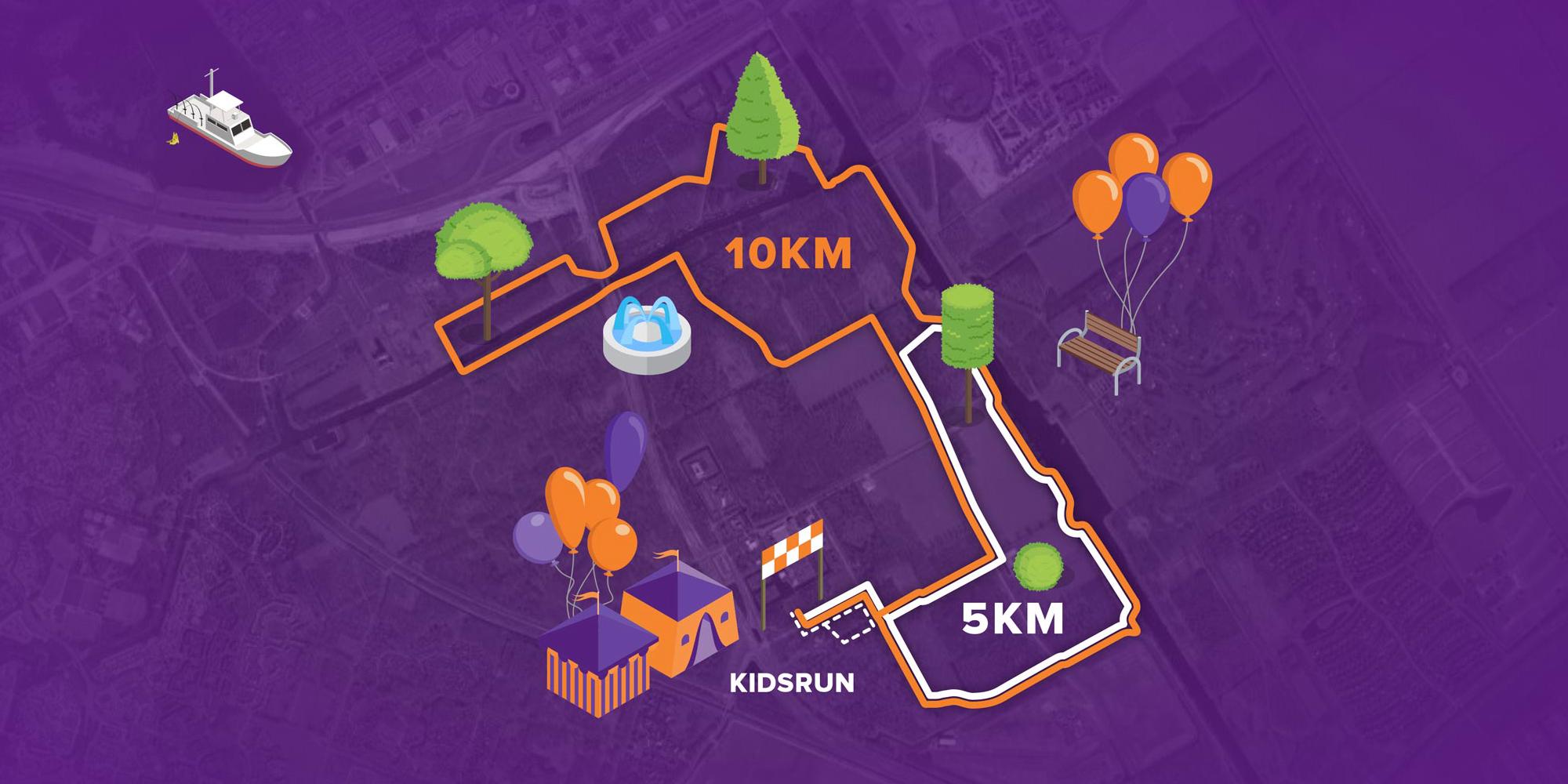 Afbeelding van de 10 kilometer, 5 kilometer en 1 kilometer KidsRun route van Run for KiKa Almere op 26 mei 2019 op de Kemphaan in Almere
