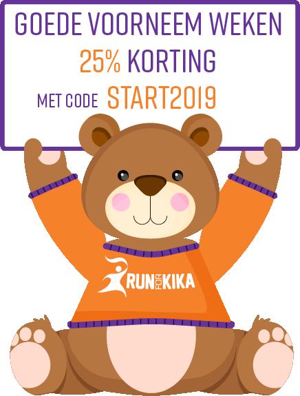 Afbeelding van de KiKa Beer die een belangrijke actie voor je heeft. Schrijf je nu in voor de Run for KiKa en krijg 25% korting met de code 2019START!