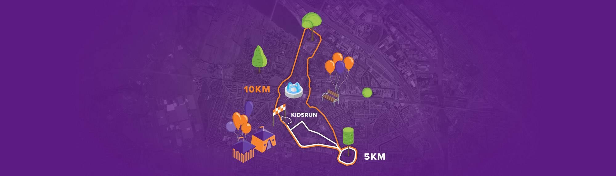 Afbeelding van de 10 kilometer, 5 kilometer en 1 kilometer KidsRun route van Run for KiKa Utrecht op 16 juni 2019 in het Máximapark in Utrecht