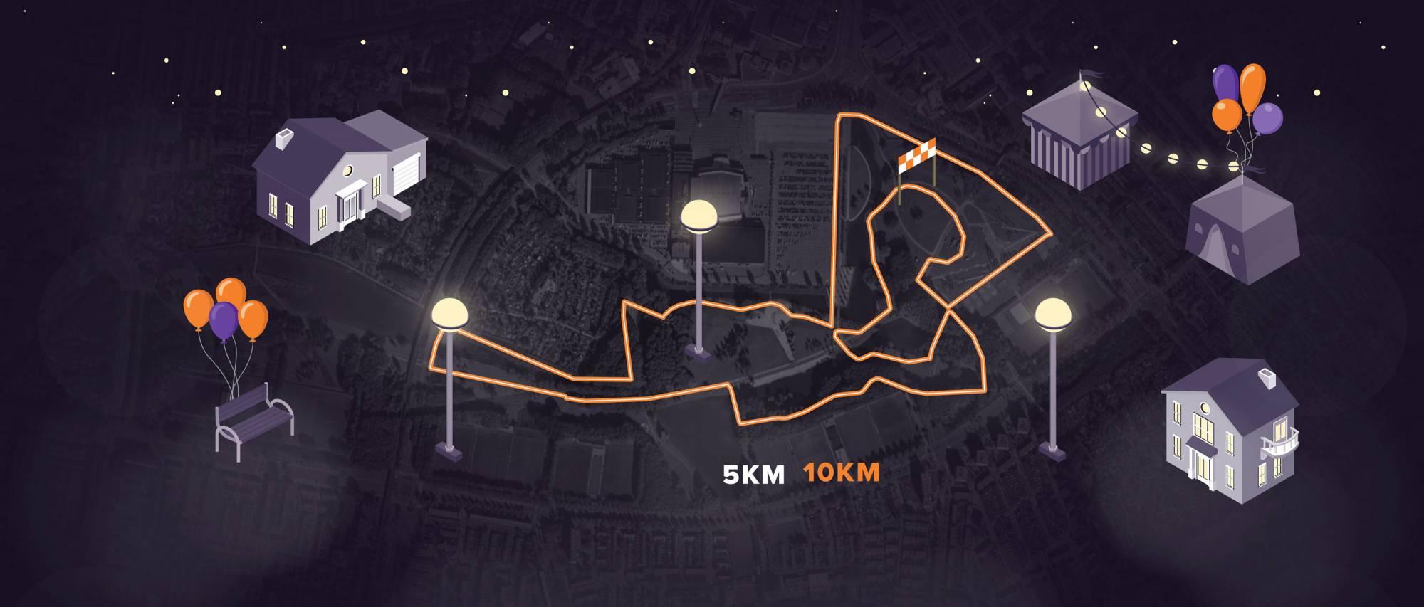 Afbeelding van de 10 kilometer, 5 kilometer en 1 kilometer KidsRun route van de Run for KiKa Nightrun op 18 april 2019 in het Zuiderpark in Rotterdam