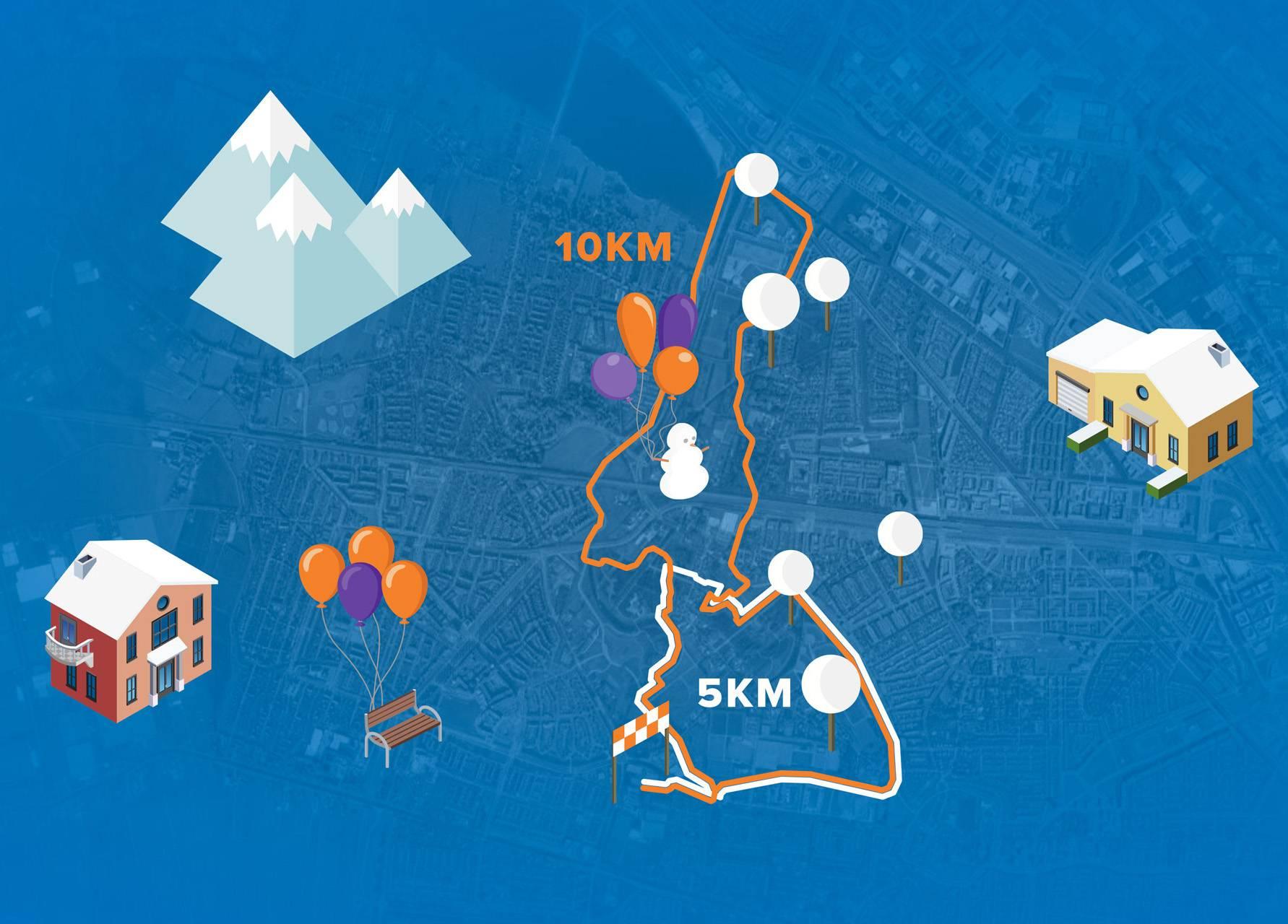 Afbeelding van de 10 kilometer, 5 kilometer en 1 kilometer KidsRun route van de Run for KiKa Winterrun op 27 januari 2019 in het Máximapark in Utrecht